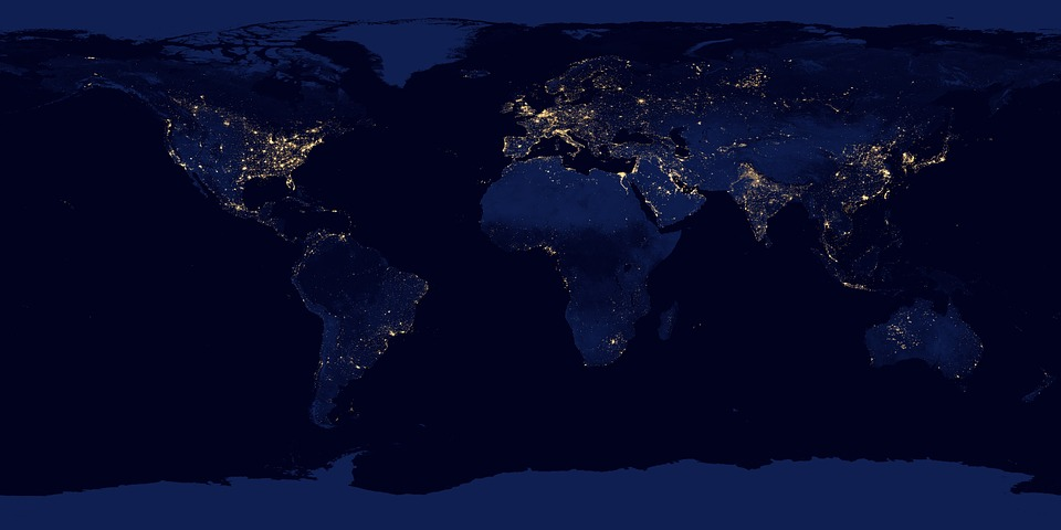 View of Earth at night with lights