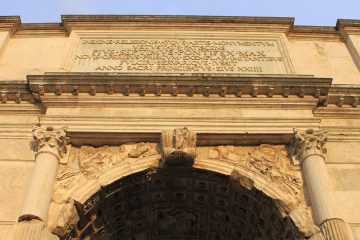 Photo looking up at the Arch of Titus