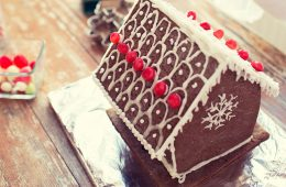 Photo of a gingerbread house on table
