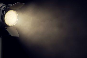 Theater spotlight against black background