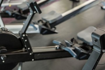 Close-up photo of a rowing machine at the gym