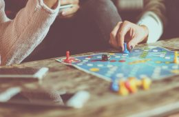 students playing board games