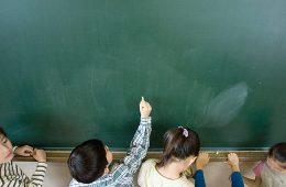 Children at a chalkboard