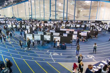 Photo of CWRU's Research Showcase exhibit floor.