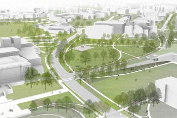 Aerial rendering of the East Bell Commons proposal.