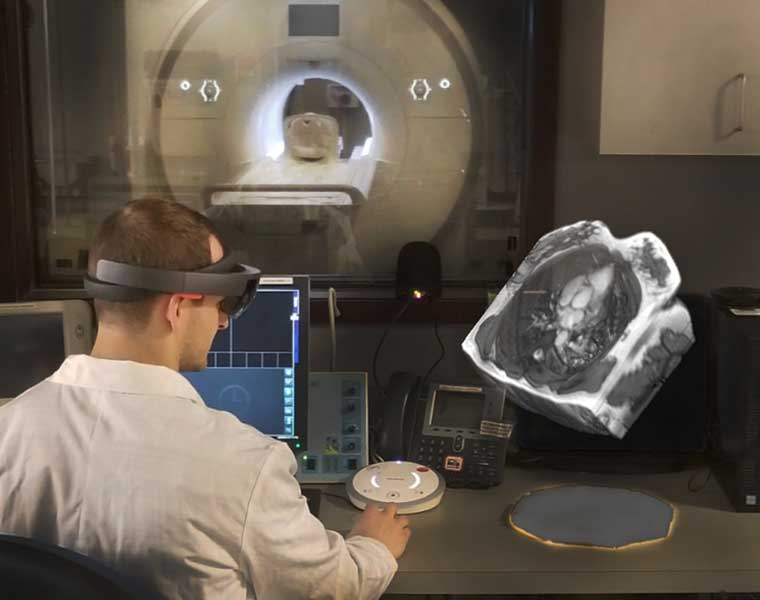 Rendering of a technician wearing a Microsoft HoloLens visor while looking at a 3-D image of an MRI scan