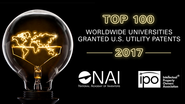 Graphic of top 100 worldwide universities granted U.S. utility patents in 2017.