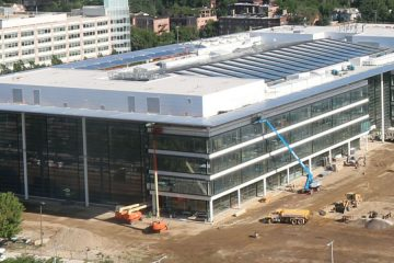 View from a live webcam showing progress on the Health Education Campus
