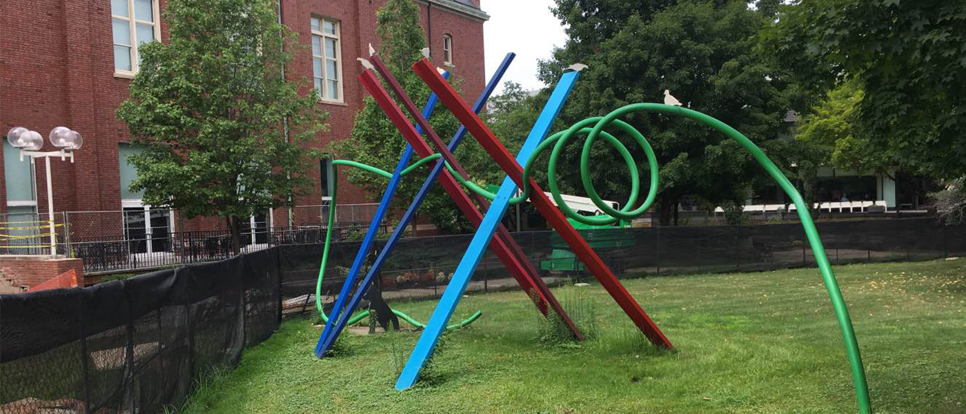 Photo of the Snow Fence art installation on Case Western Reserve University campus