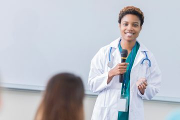 doctor at conference lecture