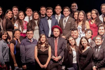 Group photo of students at Gala Latina in 2017