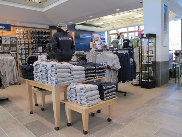 Photo of gear on tables in CWRU's bookstore