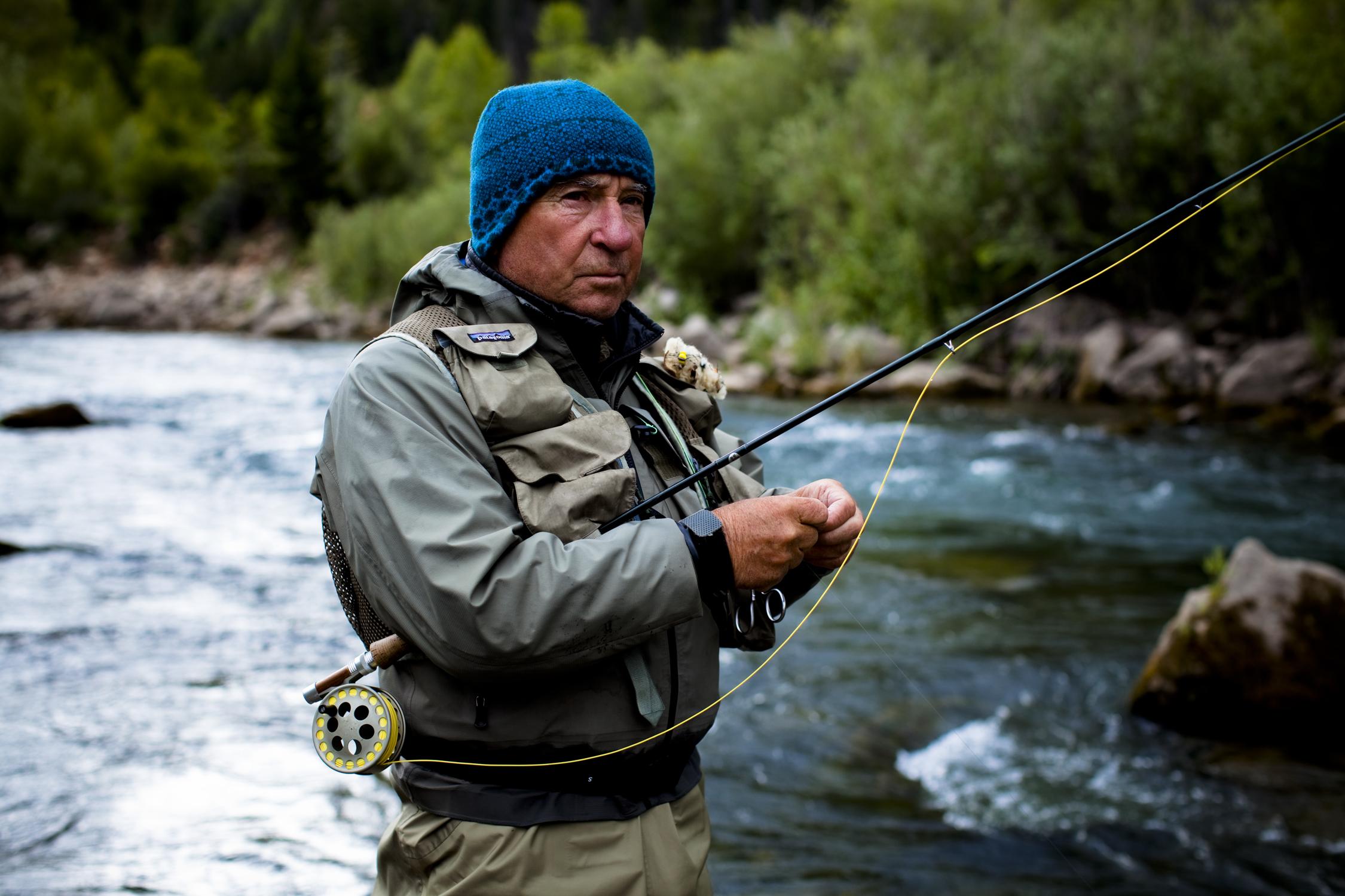 Photo of Patagonia's Yvon Chouinard fishing