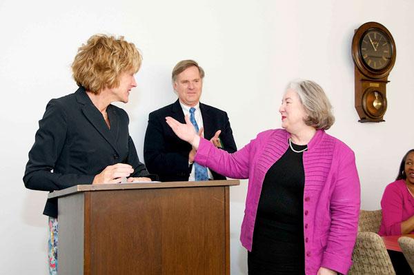 President Snyder, Provost Baeslack and Shirley Moore