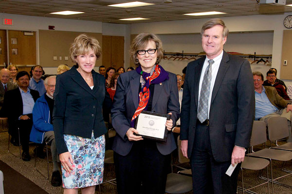 "Zehra Meral Ozsoyoglu with CWRU President Barbara R. Snyder and Provost W.A. ""Bud"" Baeslack"