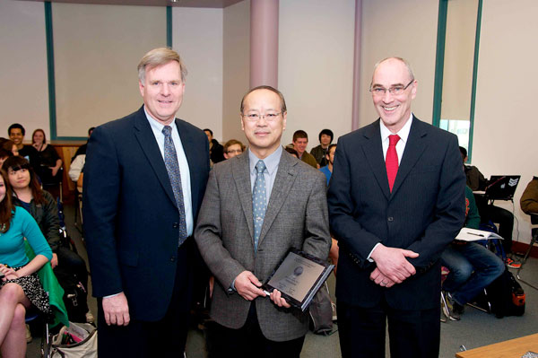 """Provost W.A. """"Bud"""" Baeslack, Hatsuo """"Ken"""" Ishida and Vice President for Research Robert Miller."""