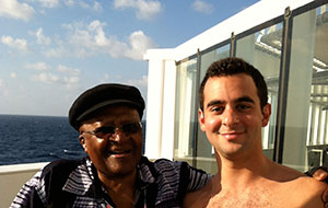 Michael Scarpaci and Desmond Tutu, again aboard Semester at Sea (in 2013).
