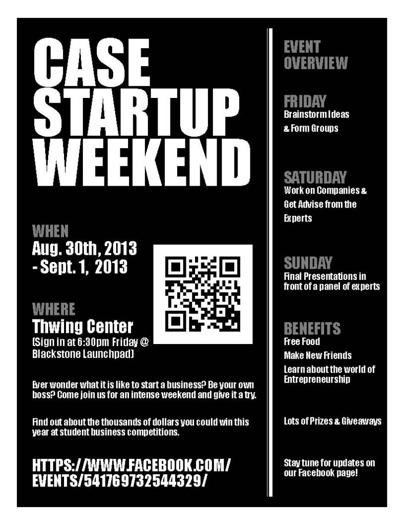CWRU Startup Weekend flier