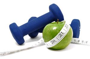 weights, healthy food