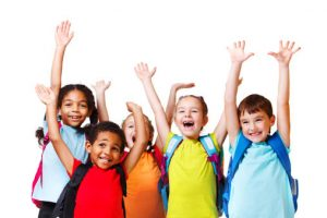 children in bright shirts on white background
