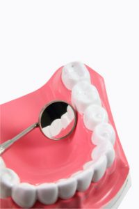 Dentist examining gums