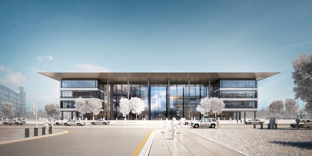 Exterior rendering of the CWRU Cleveland Clinic health education campus