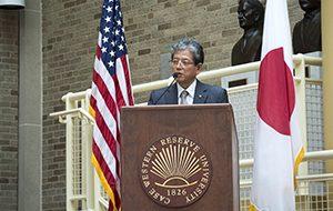 President Susumu Satomi of Tohoku University at podium