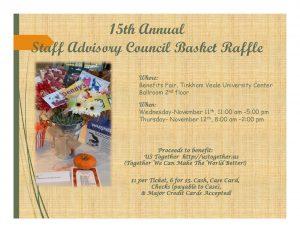 2015 Staff Advisory Council Community Service Basket Raffle flyer