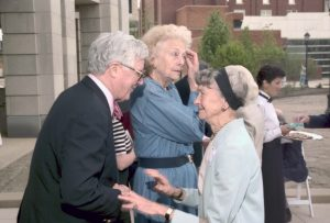 Thelma Smith with Dr. and Mrs. Harvey Buchanan at Campus Greens dedication in 1997.