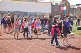 Participants at Relay for Life walk around track