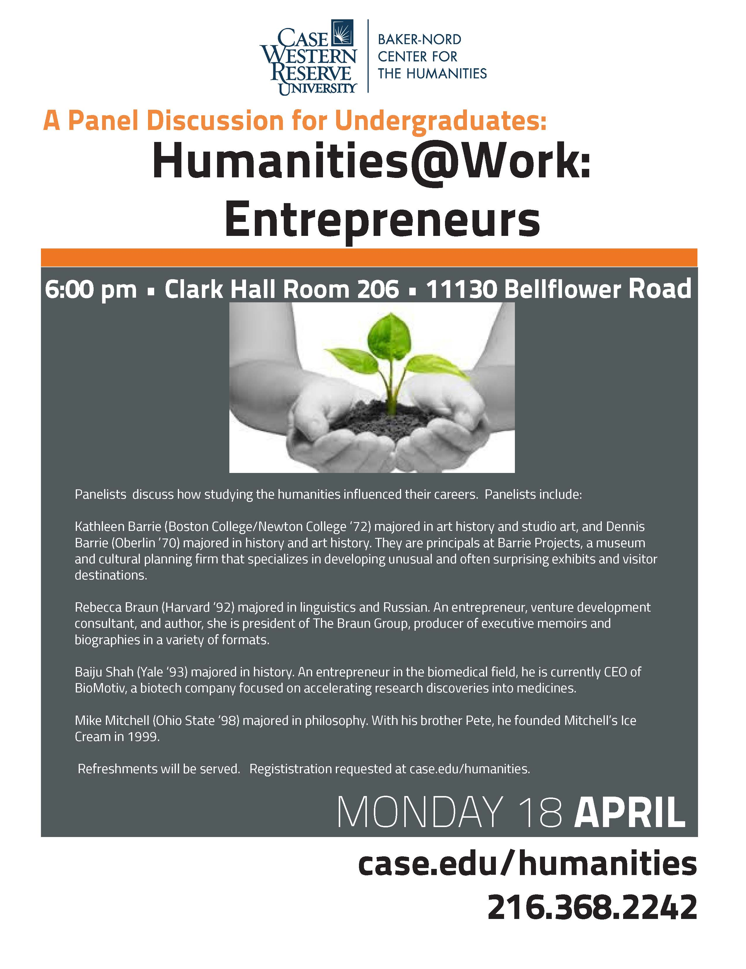 Humanites@Work Entrepreneurs flyer