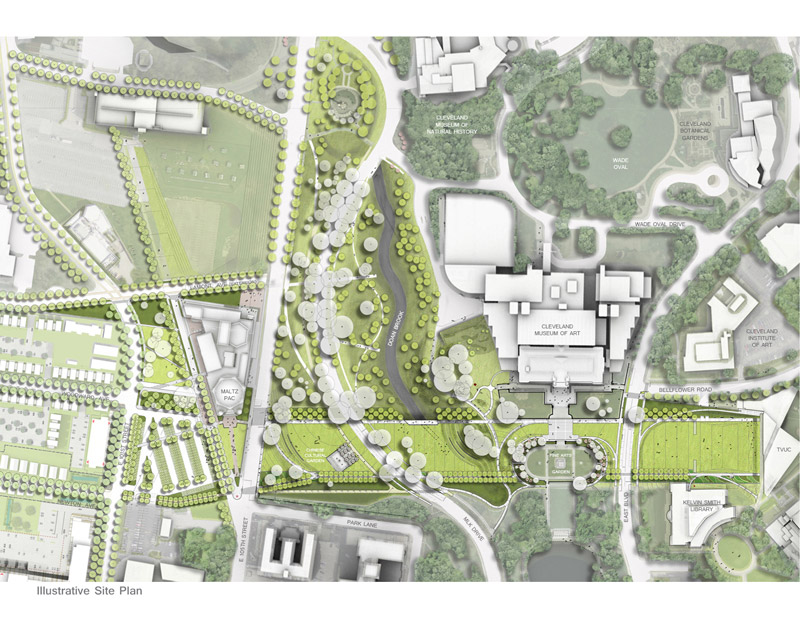 illustrative site plan of the CWRU Cleveland Museum of Art greenway project
