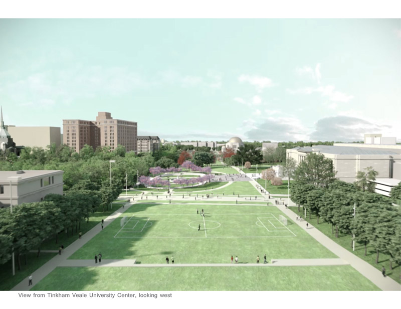rendering of CWRU, Cleveland Museum of Art greenway project, with a view of Freiberger Field looking west toward Maltz Performing Arts Center