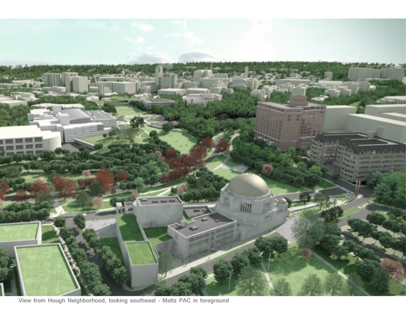 Rendering of an Aerial view of the CWRU greenway, with the Maltz Performing Arts Center in the foreground, looking east