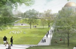 rendering of the Nord Familiy Greenway with the Maltz Performing Arts Center in the background