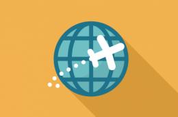 plane flying around globe icon