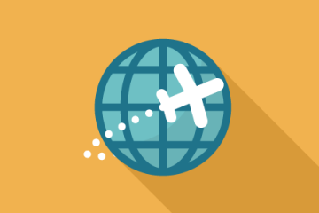 plane flying around globe icon
