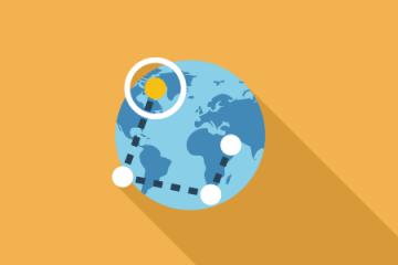 globe with destination circled icon