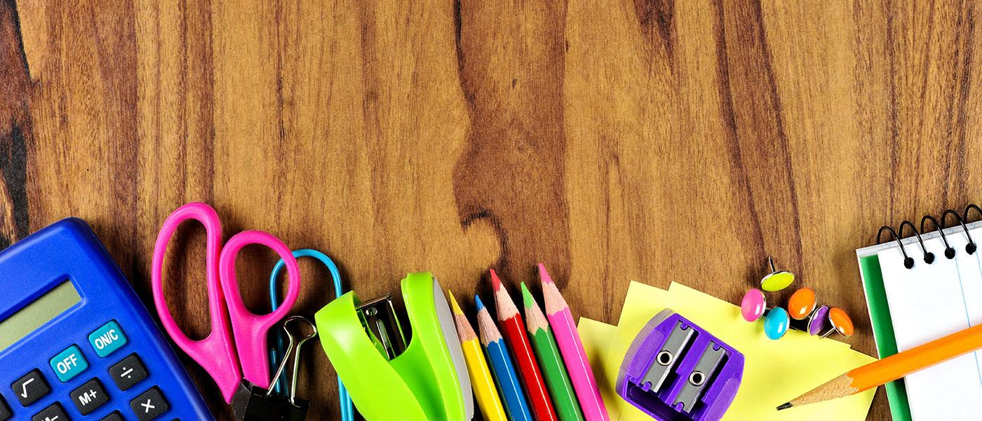 School supplies on table