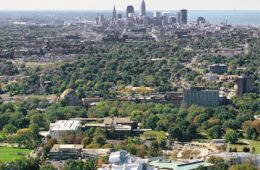 aerial view of CWRU in the foreground and Cleveland in background