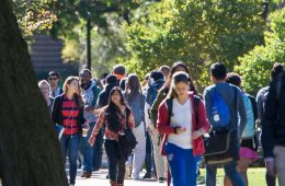 CWRU students walking across the quad