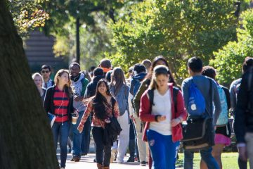 CWRU students walking across the quad