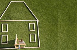 outline of house laying on green grass