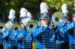 CWRU marching band trumpeters