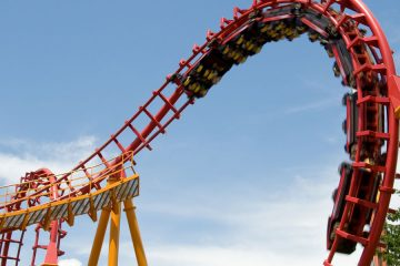 rollercoaster with blue skies