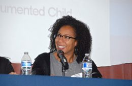 Ayesha Bell Hardaway at microphone