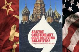 """the book """"Are you carrying any gold or living relatives"""" sitting on top of the American and Soviet Union flags"""