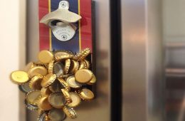 Cap-Stop bottle opener mounted on a refrigerator