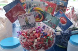A raffle basket full of candy and gift cards