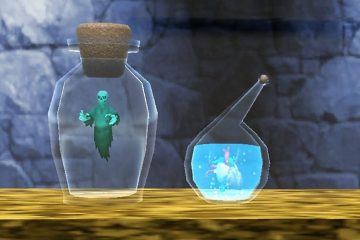 Bottles with creatures in them from screenshot of Holoween event